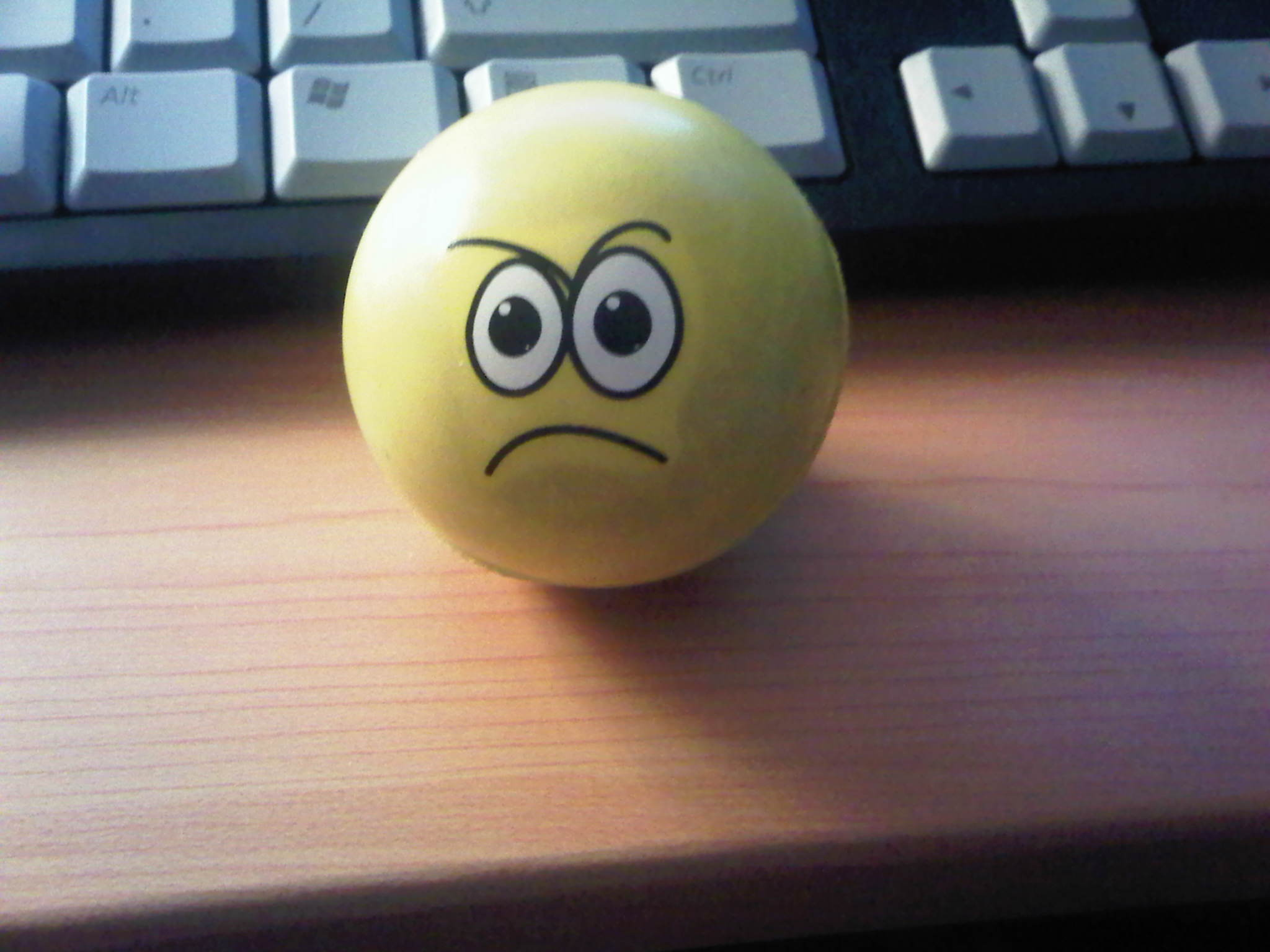 Squeeze ball looking angry