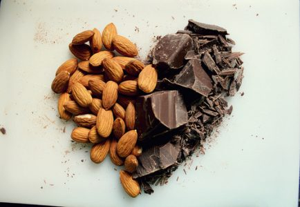 Almonds and dark chocolate for your health.