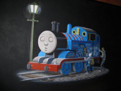 Graffiti on Thomas tank engine